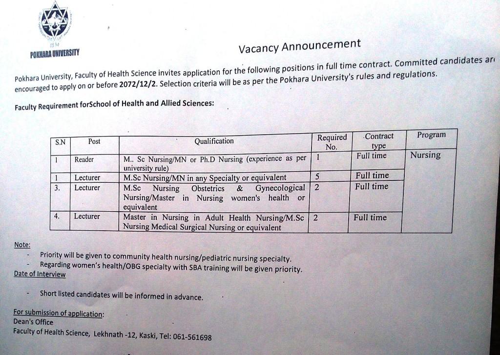 Vacancy Nursing