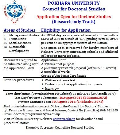 notice for doctoral studies