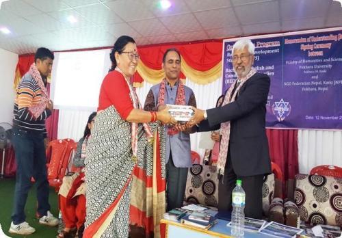 Offering Token of Love to Ram Kali Khada, Chairperson, WSDO (Orientation Program 2019)